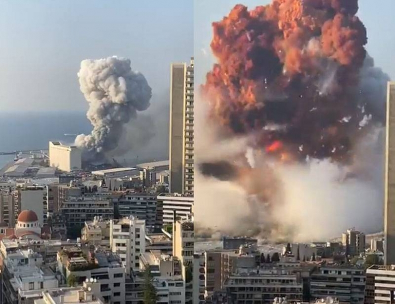 An explosion of huge force in the capital of Lebanon hit the frame