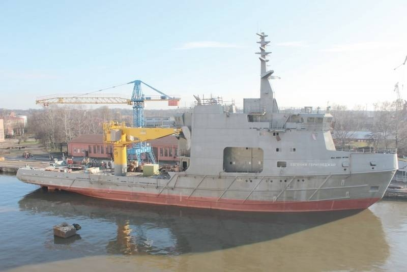 Oceanographic vessel for the GUGI of the Ministry of Defense launched in Kaliningrad